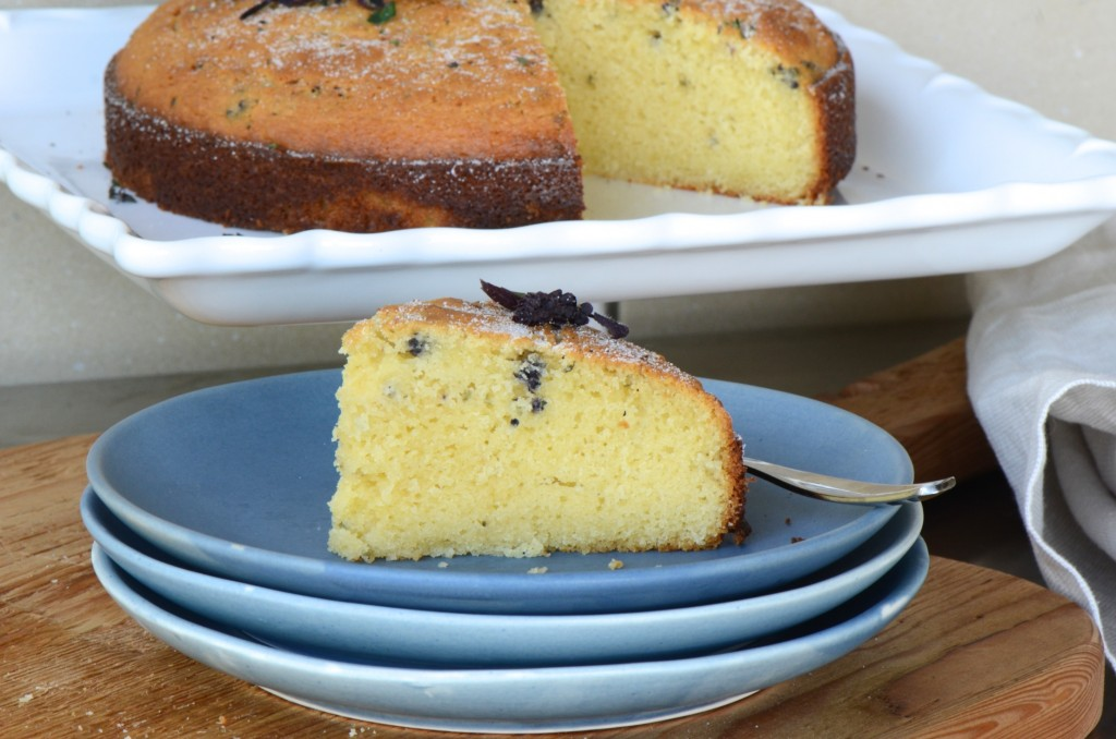 Olive oil cake with purple basil flowers