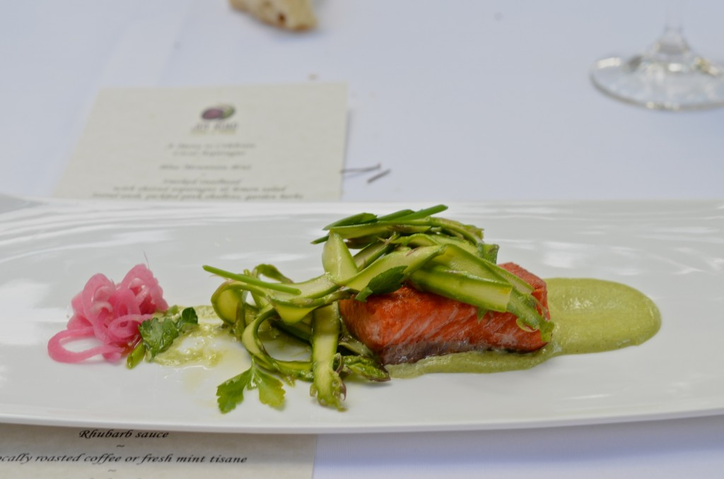 Smoked steelhead and asparagus salad