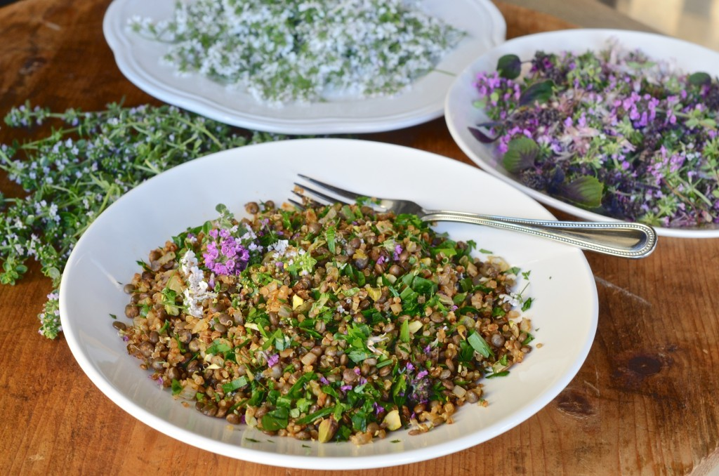 Lentil and quinoa with herb flowers
