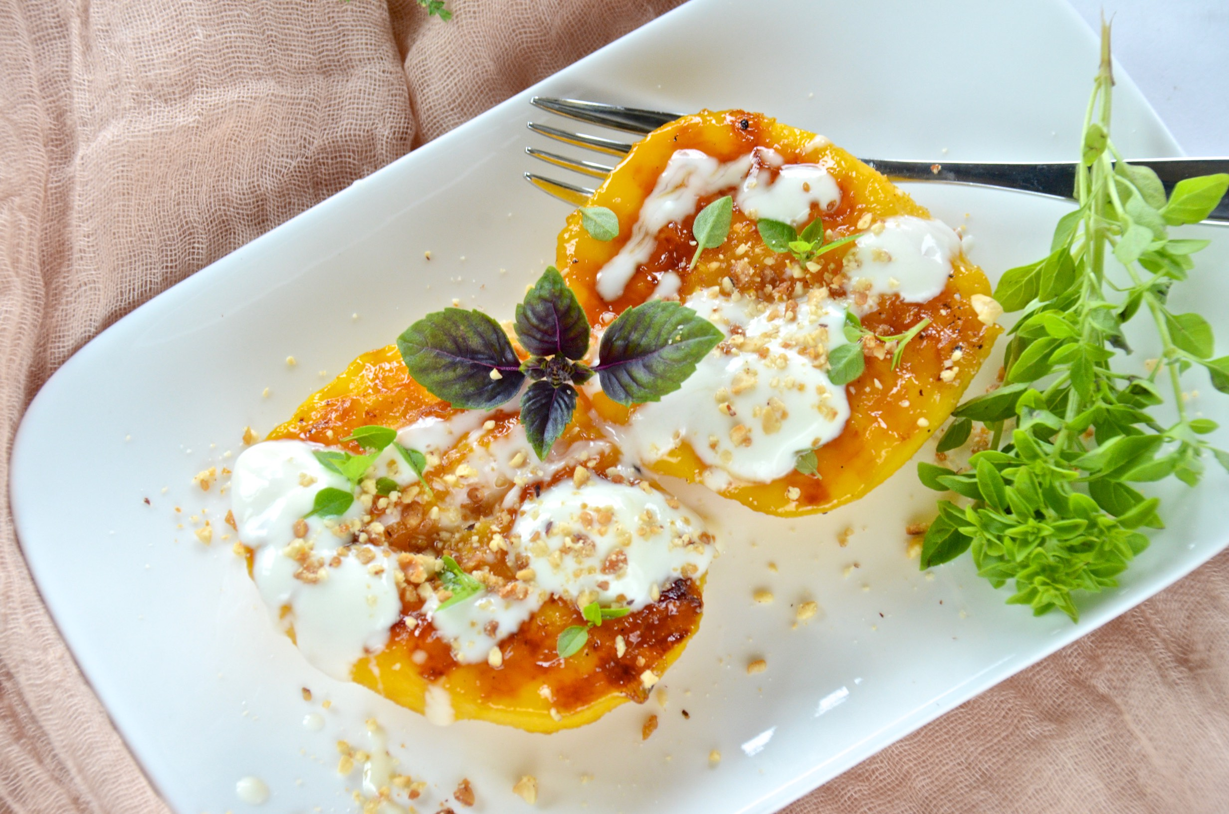 Grilled peaches with honey yogurt and basil | Olive Oil ...