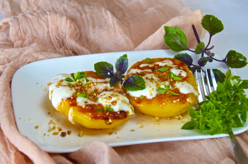 Grilled peaches with honey yogurt and basil