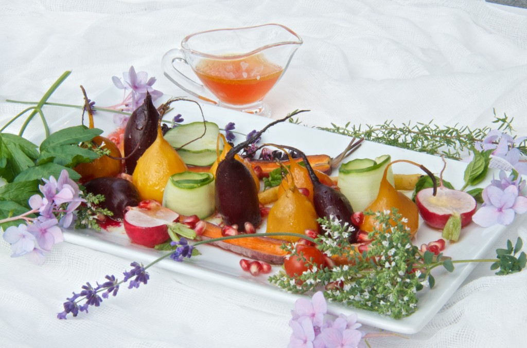 Roasted baby vegetables with honey balsamic dressing