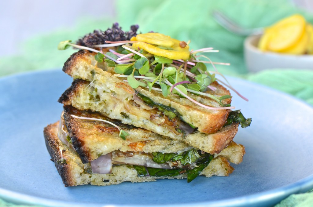Grilled eggplant and kale panini