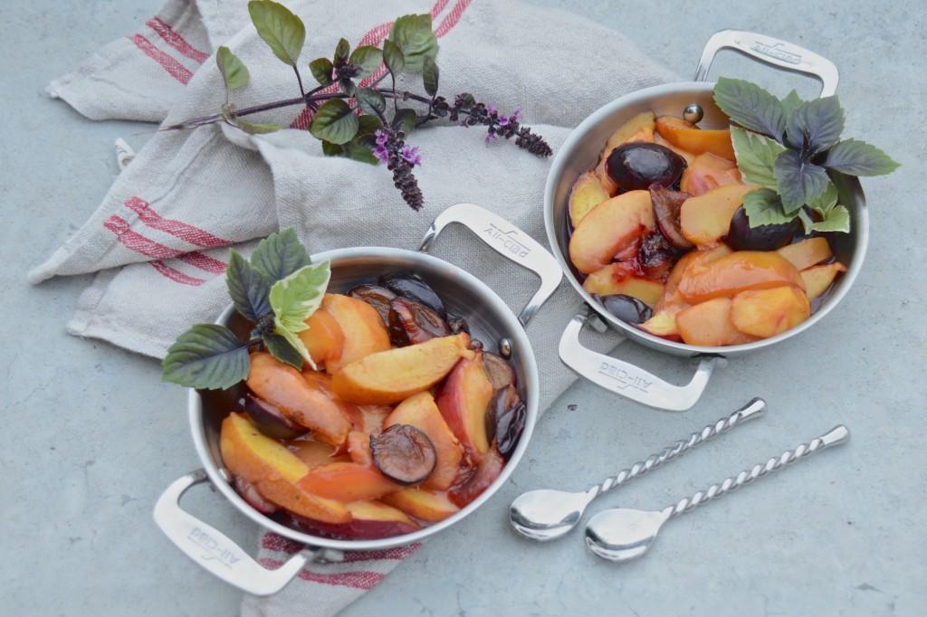 Roasted stone fruits with honey yogurt