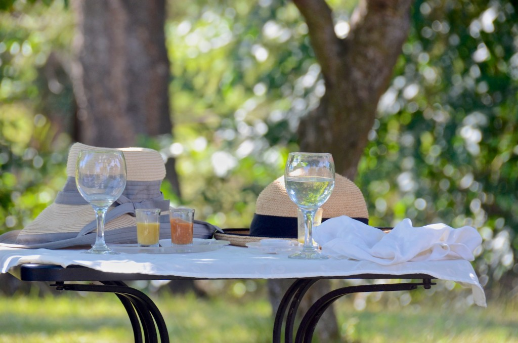 A foodie table under a tree