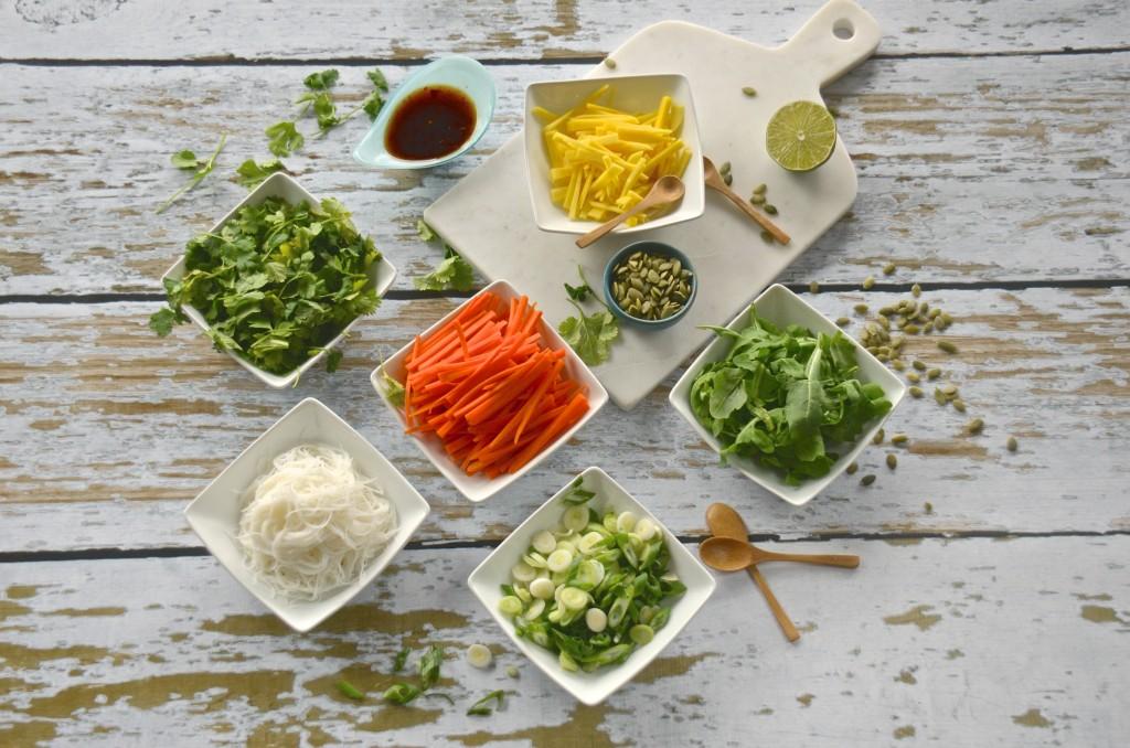 Salad rolls mise en place