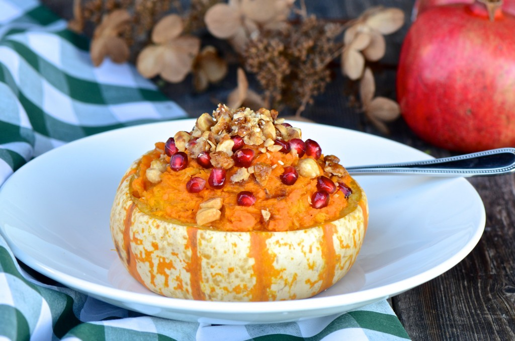 Winter squash stuffed with sweet potatoes and squash