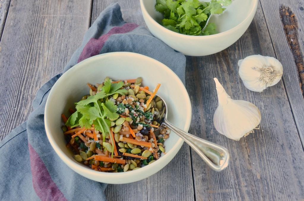 Lentil-quinoa filling