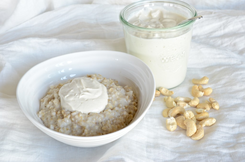 Steel cut oats with cashew cream