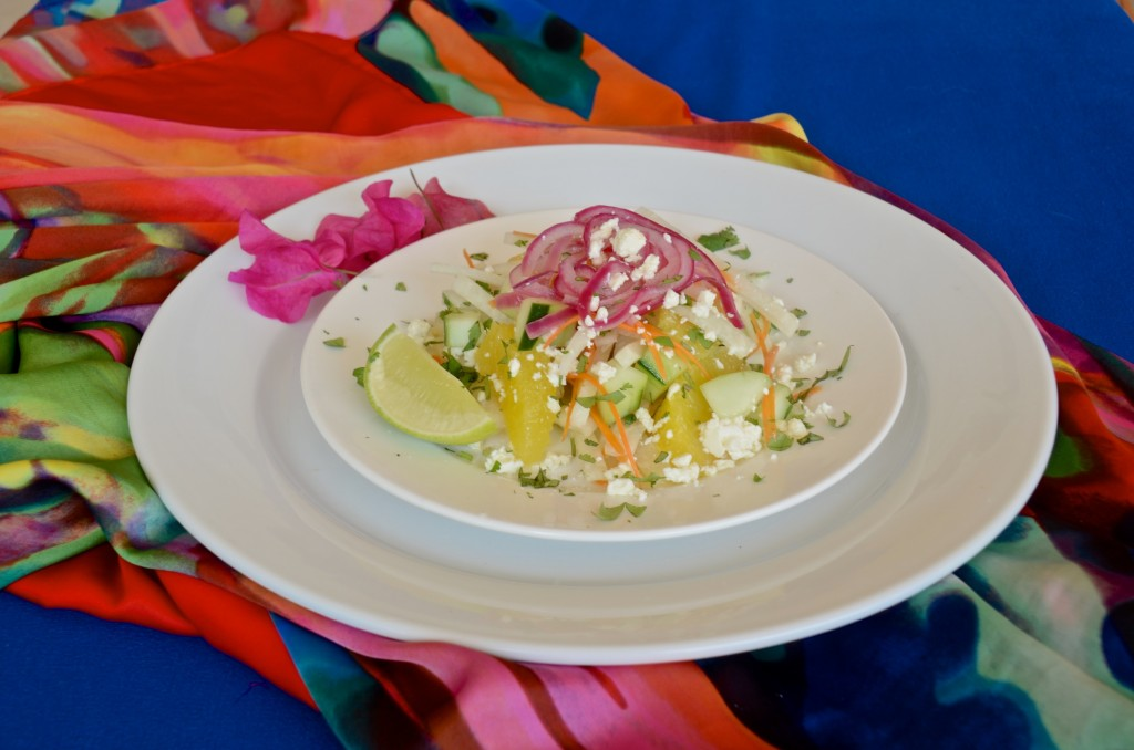 Cucumber, Jicama and Orange salad with feta and pickled red onion