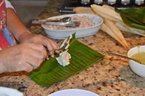 Filling tamales
