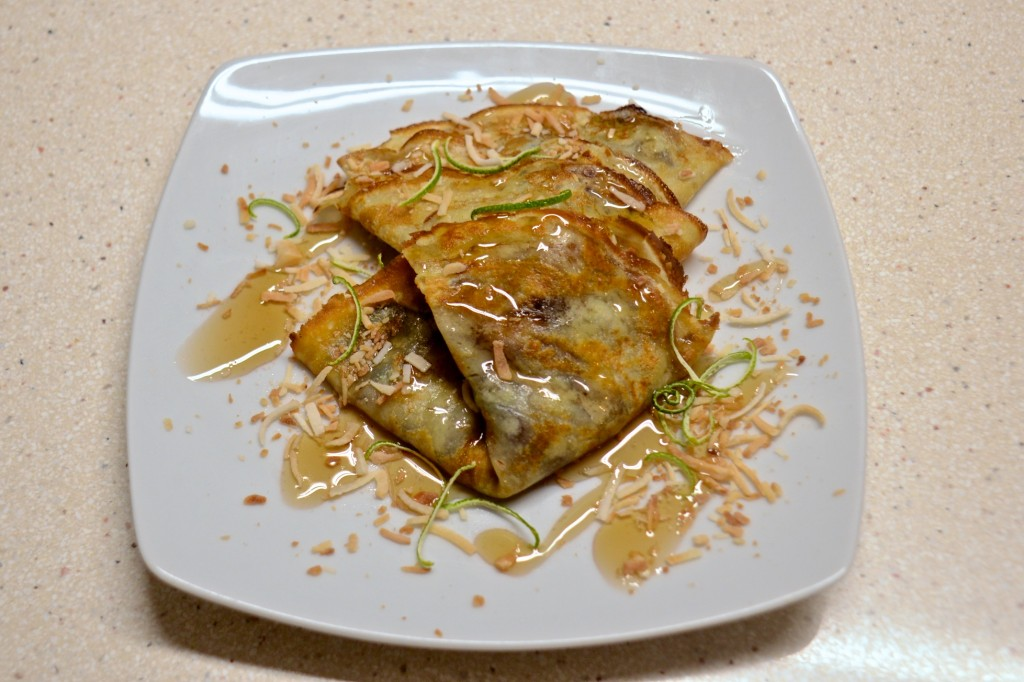 Crepes with caramelized bananas and lime