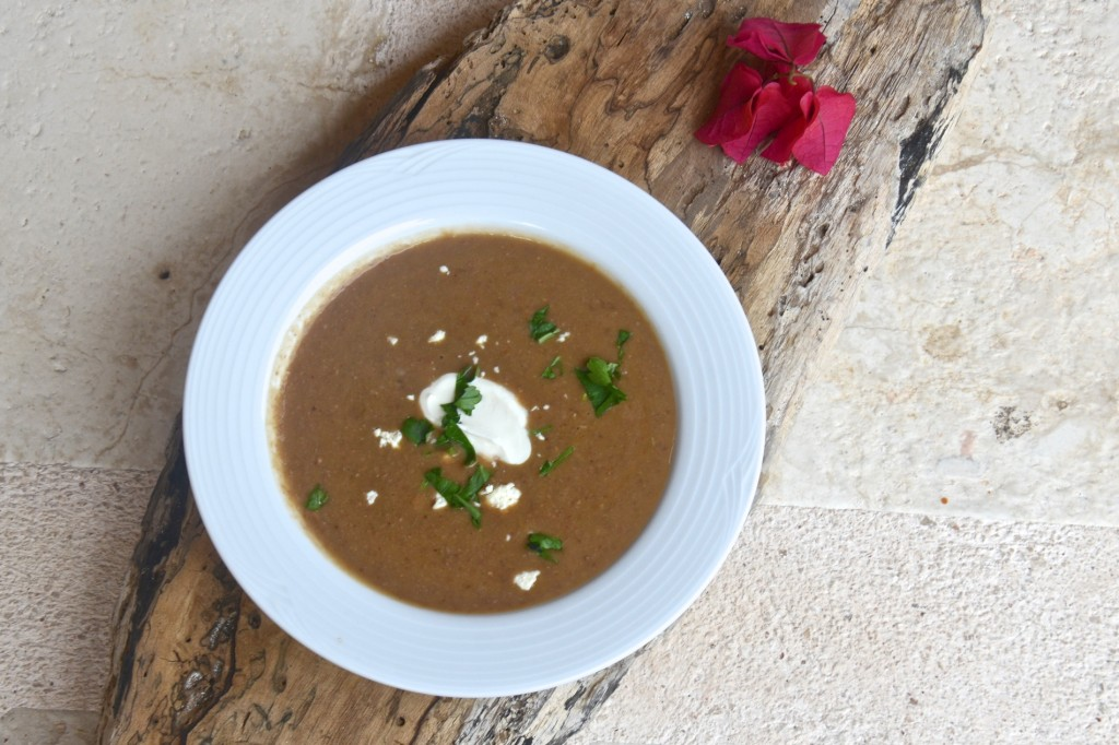 Black bean soup with cotija and crema