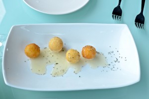 Goat cheese balls with local honey and rosemary