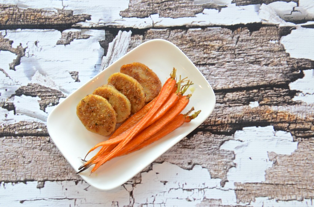 Seitan patties with roasted carrots