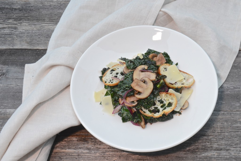 Warm kale and mushroom salad