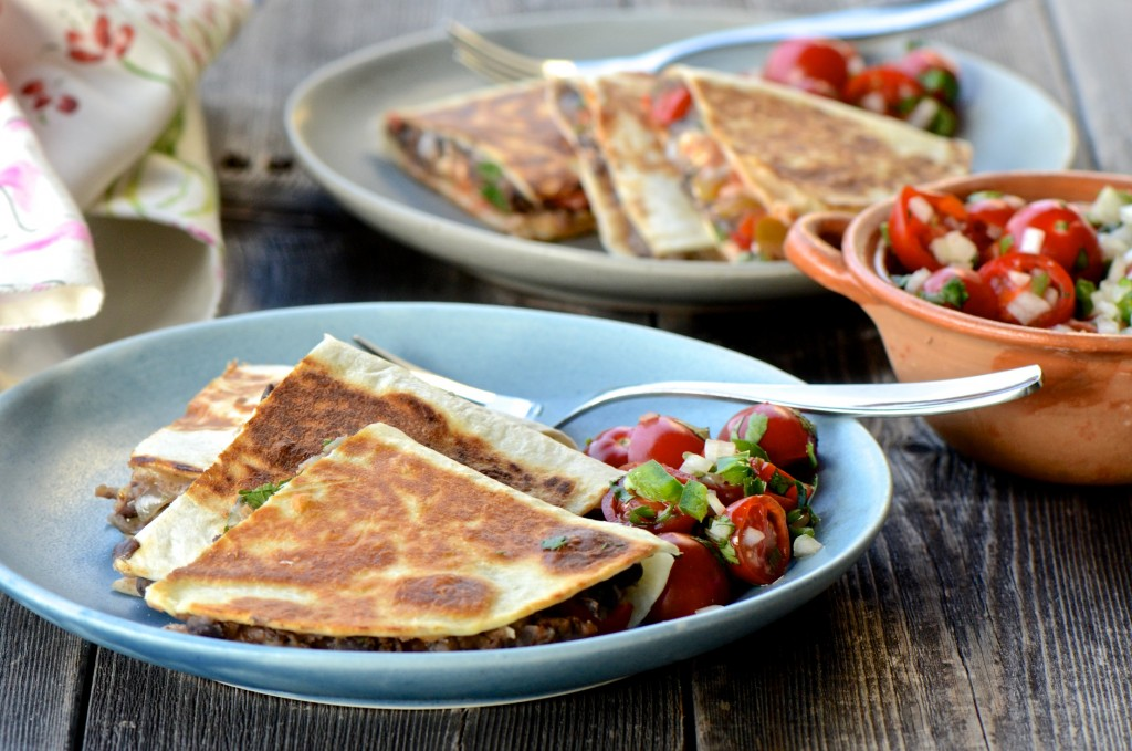 Black beans quesadillas