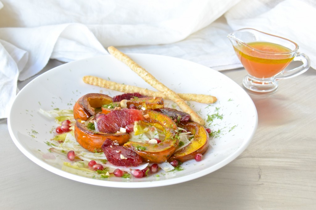Fennel, pear and blood orange salad with roasted acorn squash