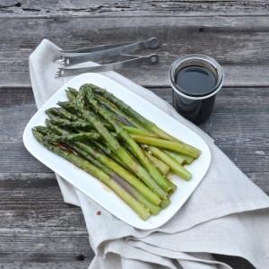 Asparagus with soy caramel