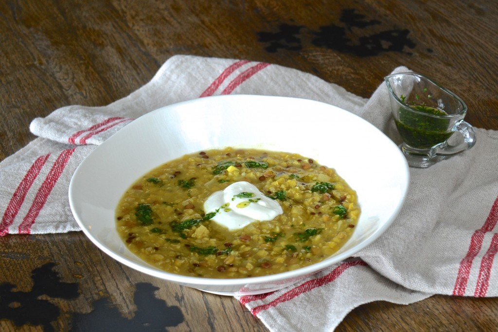 Three-lentil and quinoa soup