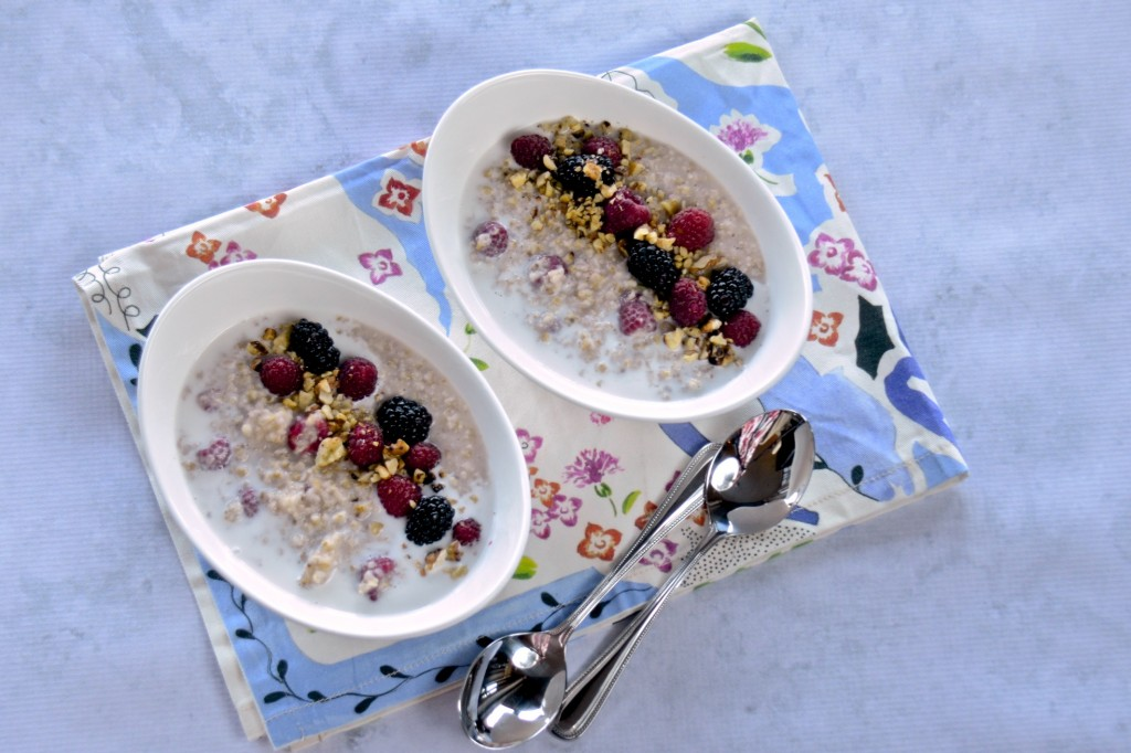 Irish oats with fresh berries and coconut cream