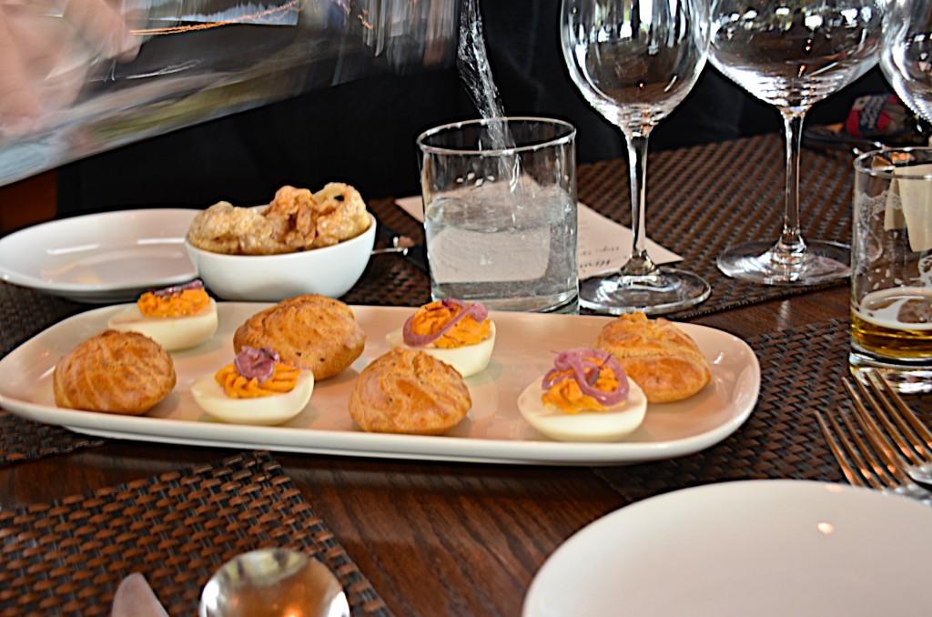Selection of canapes, Miradoro, tinhorn Creek Winery