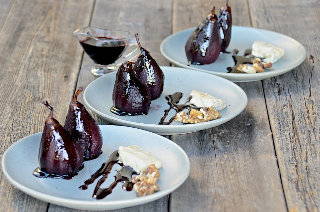 Red wine poached honey belle pears