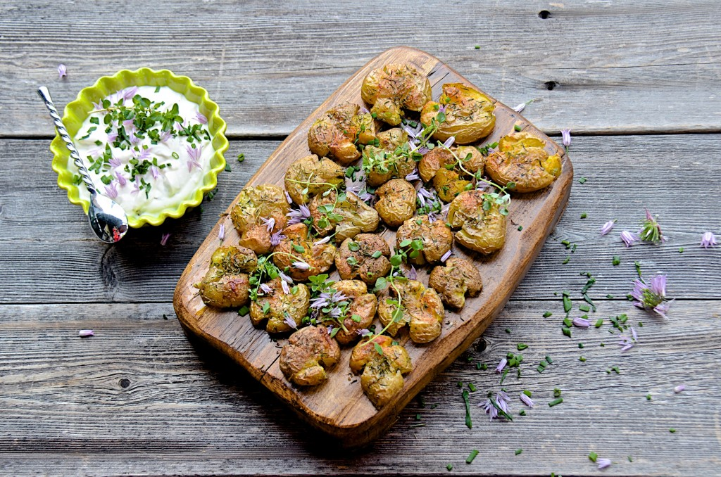 Herb roasted smashed potatoes