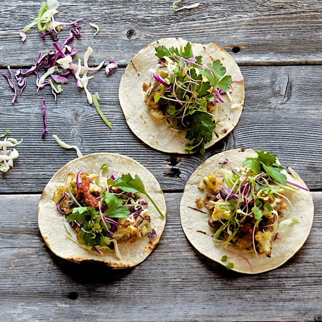 Tortillas with refried beans and roasted cauliflower