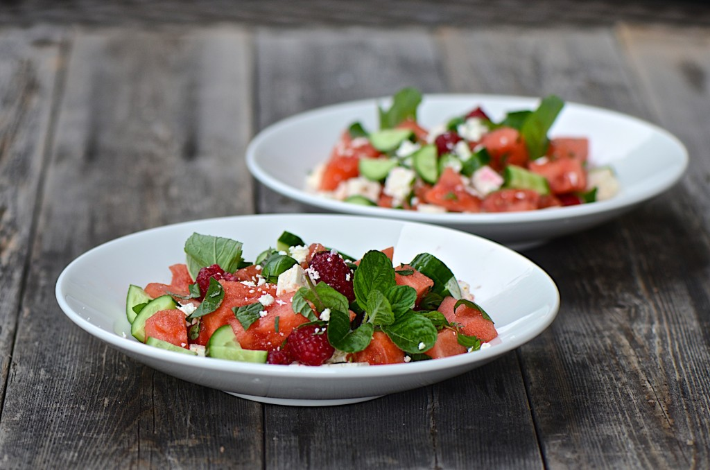 Watermelon and cucumber salad with balsamic glaze