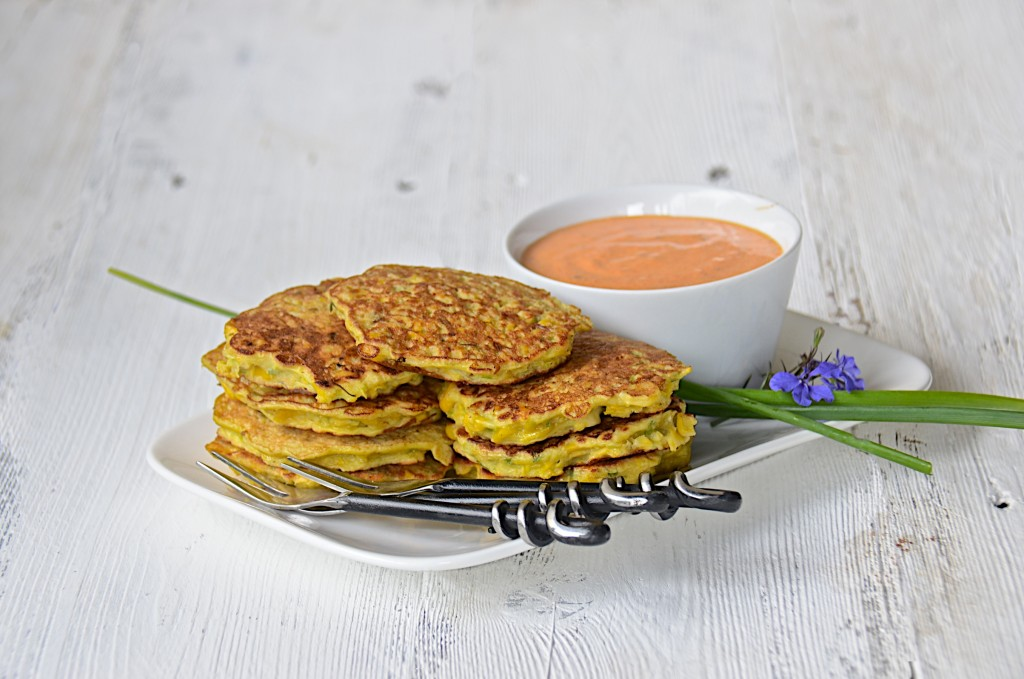 Corn fritters with red pepper mayo