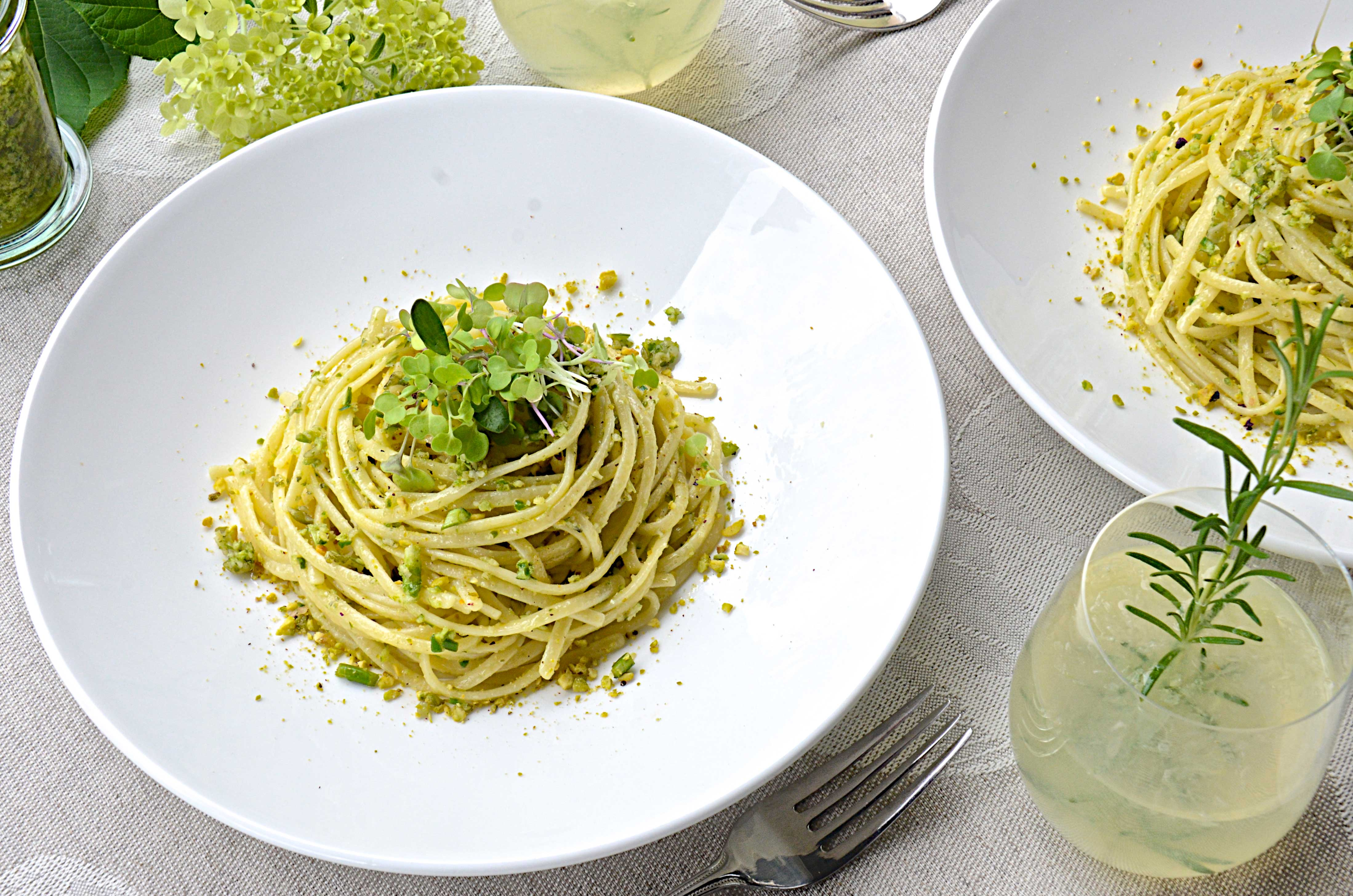Pasta with Garlic Scape Pesto | Olive Oil and Lemons | Dina Honke