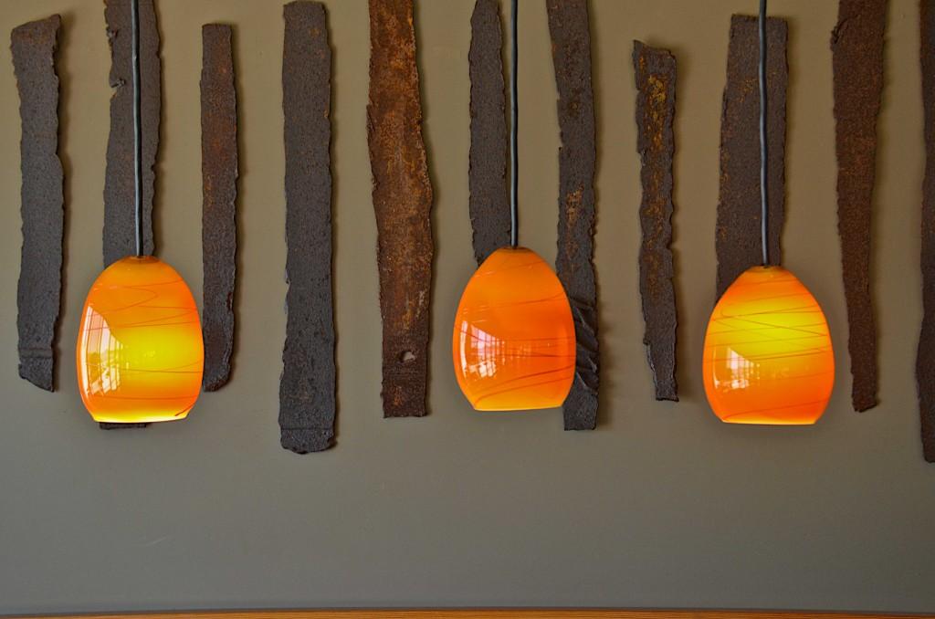 Glass art lighting, Chris Hawthorn, at Red Fish restaurant, Port Orford, Oregon