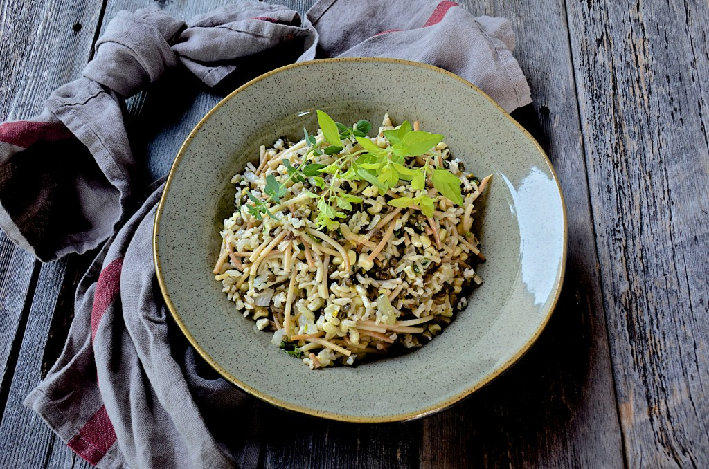 Rice-lentils-noodle bowl