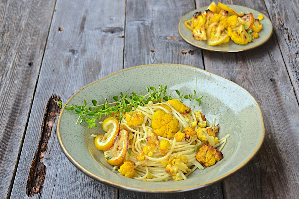Pasta with lemon roasted cauliflower