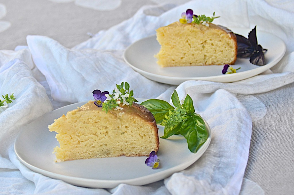 Lemon and basil summer cake
