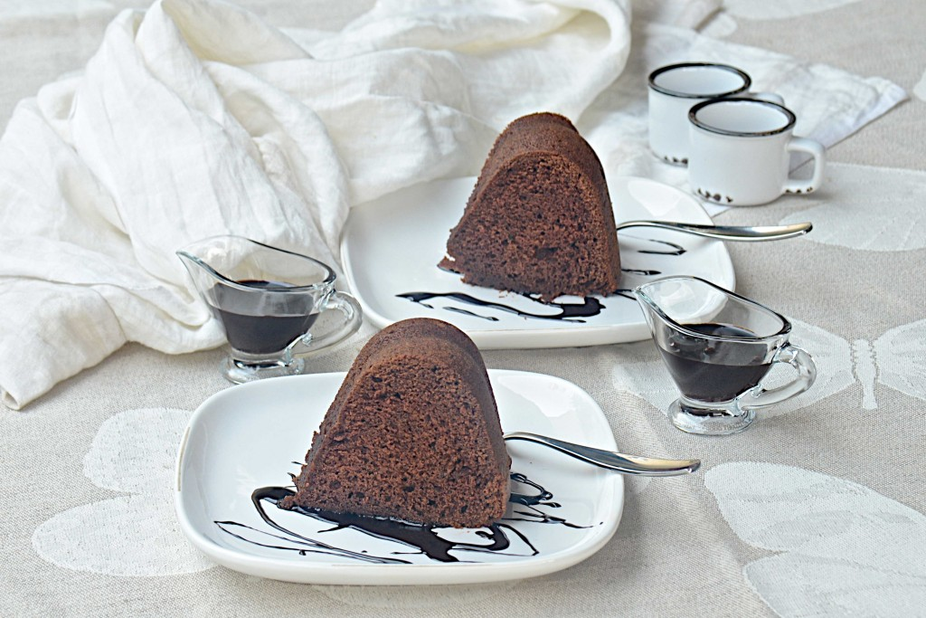 Chocolate cake with chocolate sauce