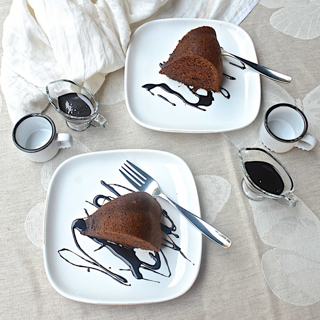Chocolate cake with chocolate sauce