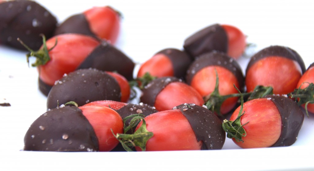 Chocolate dipped teardrop cherry tomatoes