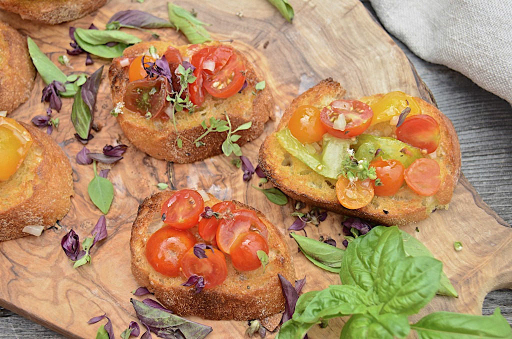 Bruschetta with heirloom tomatoes
