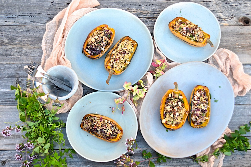 Roasted delicate squash with quinoa and radicchio