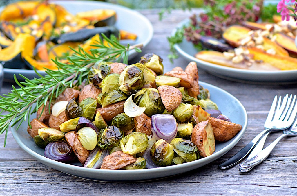Roasted potatoes, onions and brussels sprouts