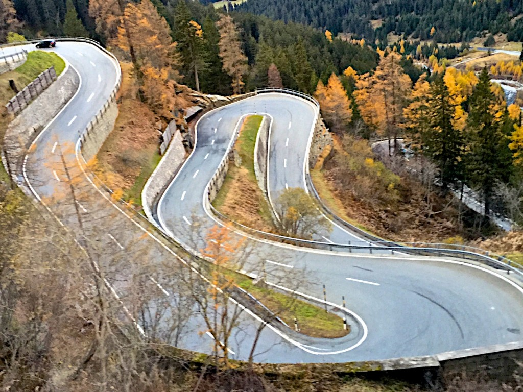 The road down from St. Moritz
