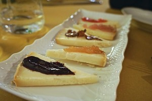 Pecorino with condiments, Trattoria
