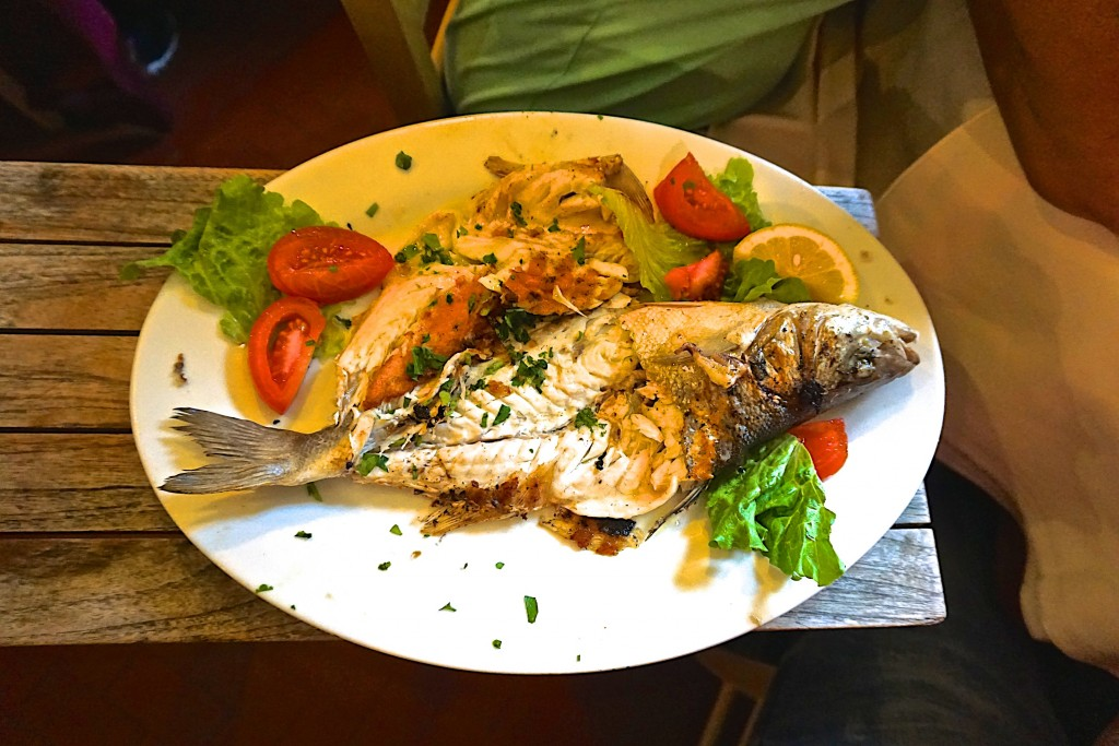 Grilled whole fish at  Gamberro Rosso