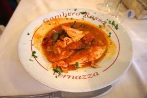 Fish in tangy tomato sauce, Gambero rosso, Vernazzia