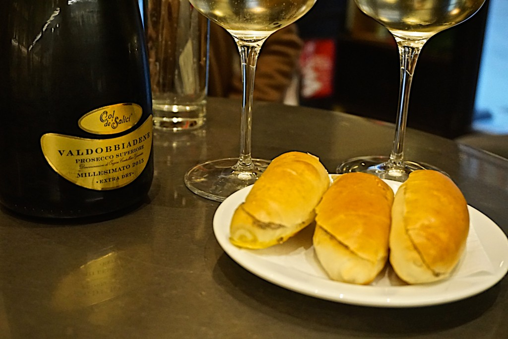 Prosecco and truffle sandwiches at