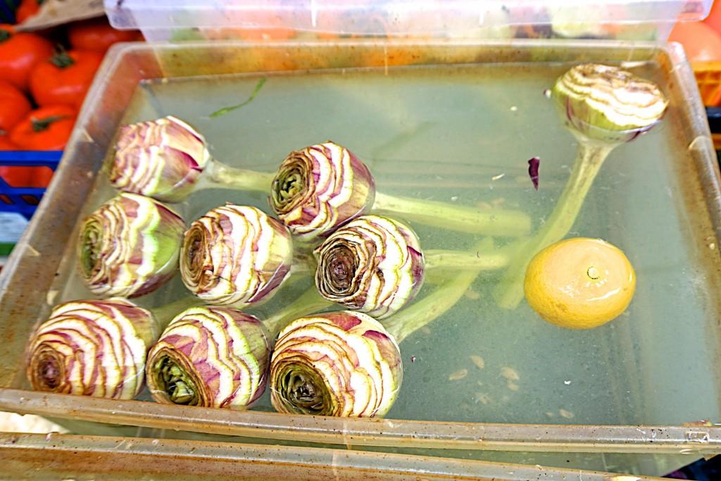 Trimmed artichoke at Campo di Fiori