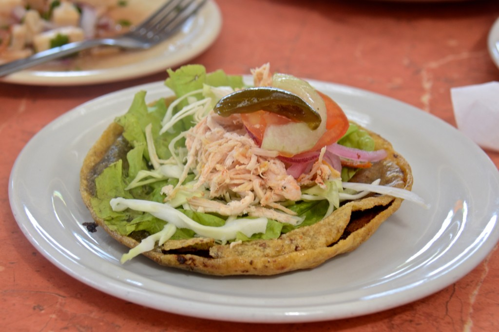Black bean and chicken panuchos in Merida