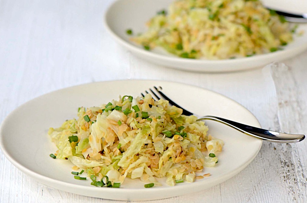 Napa cabbage and red lentils